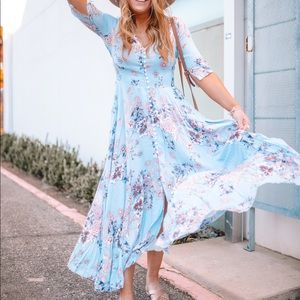 Chicwish Blue Floral Maxi